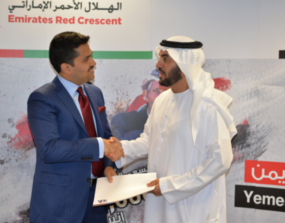 Caption: VPS Healthcare donated AED2.5 Million to Emirates Red Crescent for 'Yemen: We Care' campaign