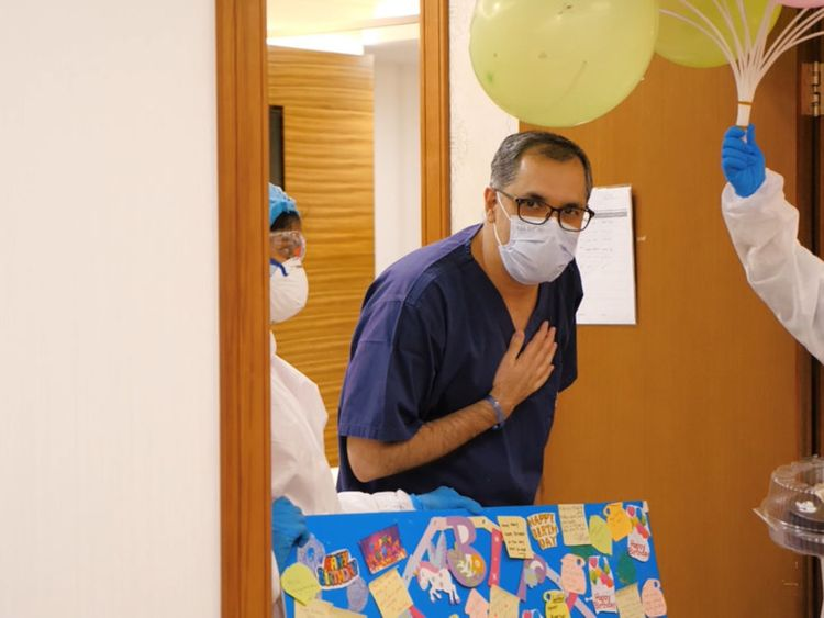 UAE doctor being treated for COVID-19 moved to tears by surprise birthday celebration